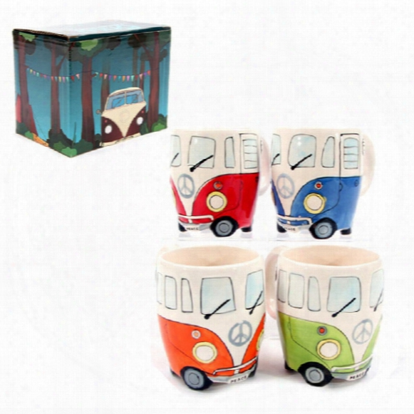 Free Shipping F1 Camper Van Adventures! Retro Car Mug Ceramic Hippie Coffee Mug With Gift Box Wa2092