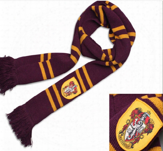 Harry Potter Slytherin Gryffindor Ravenclaw Hufflepuff Thicken Wool Scarf Soft Warm Large Halloween Cosplay Costumes Autumn  Winter Scarves