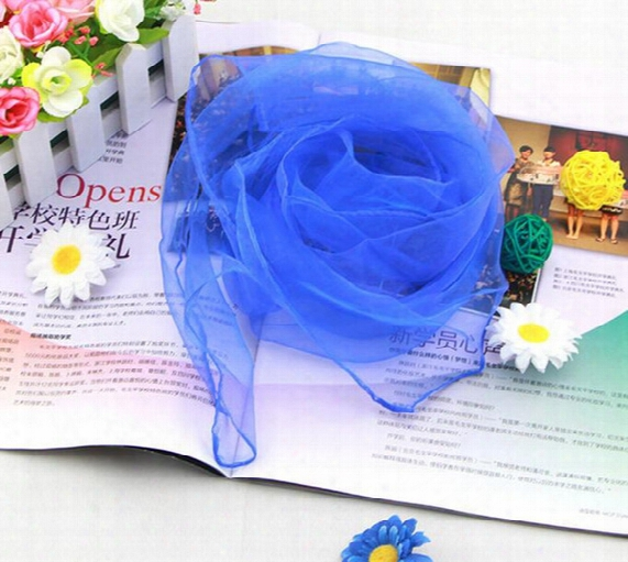 Hot Sale 60*60cm 70*70cm Small Square Scarves Imitated Silk Chiffon Solid Color Dance Show New Candy Colors Windproof Women Scarves