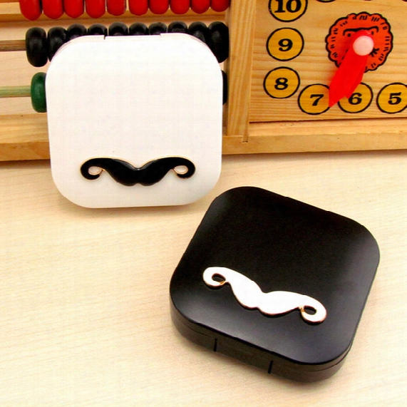 Lovers Cartoon Cute Beard Travel Glasses Contact Lenses Box Contact Lens Case For Eyes Care Kit Holder Container Gift F2017420