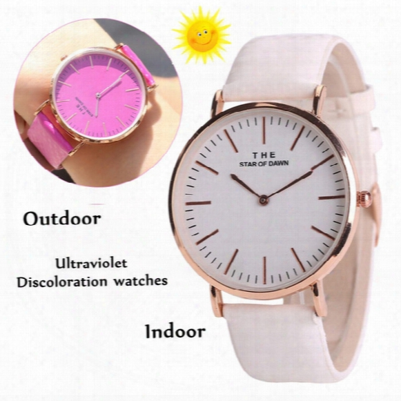 Luxury Women Thermochromic Change Color Watch Watches Pu Leather Strap Ultraviolet Discoloration Wristwatches Ladies Girl Casual Dress Watch
