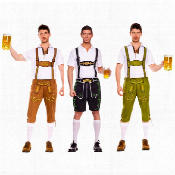 Men's Oktoberfest Edelweiss Lederhosen With Suspenders Costume For Man Role Play,stage Costuming Mardi Gras Carnival Party Size S M L Xl Xxl