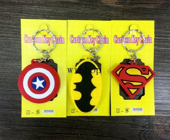 New 100pcs Mix Cartoon Superhero Batman Superman Captain America Logo Pvc Key Chains Pendant Children Toy Gifts Party Favors