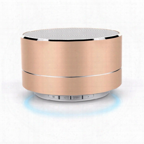 New A10 Metal Bluetooth Speaker With Led Light Mini Wireless Portable Subwoofers Support Handsfree Fm Radio Tf Card Slot Music Players