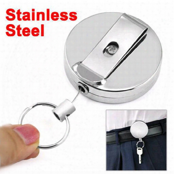 New High Quality Wholesale Retractable Metal Card Badge Holder Steel Recoil Ring Belt Clip Pull Key Chain