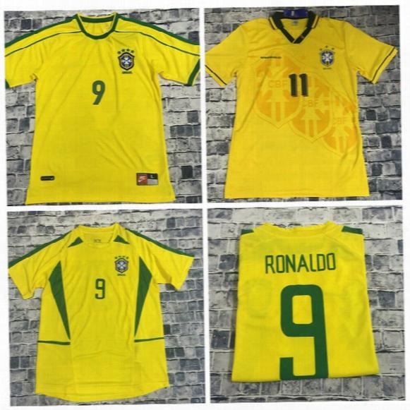 Retro 1994 1998 2002 Brazil Home Jerseys 2002 Brasil Classic Shirts Carlos Romario Ronaldo Ronaldinho Jersey Camisa De Futebol