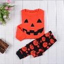 New Halloween pumpkin Pajamas outfits cartoon baby long-sleeved+pants 2pcs/set Tracksuit suit kids Clothing top quality