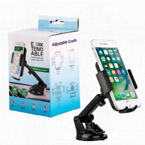 Universal Clip Car Holder Phone Windshield Dashboard Mount Bracket Sucker Potable Adjustable Cradle For Iphone Samsung Galaxy Htc