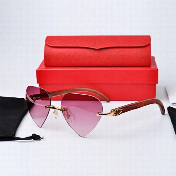 Valentines Day Present Love ! Brand Designer Buffalo Horn Heart Lens Rimless Sunglasses Frame High Quality Mens Women Sun Glasses With Box