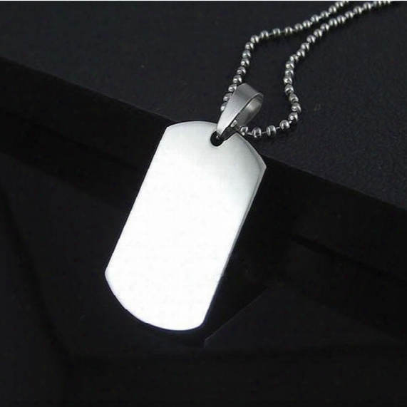 Wholesale Blank Engravable Stainless Steel Cat Dog Tag Military Shape Men Pendant For Boys Free Shipping