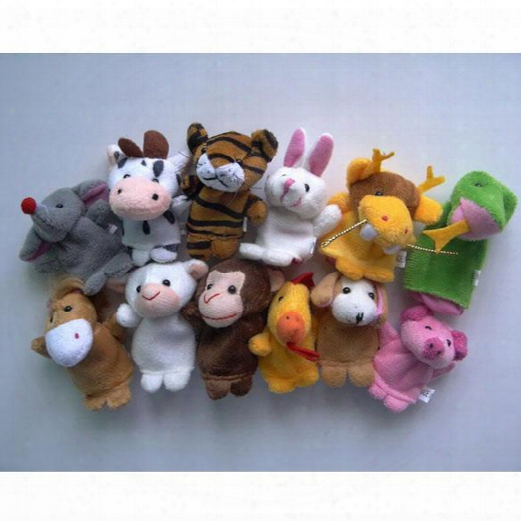 Wholesale-chinese Zodiac 12pcs/lot Animals Cartoon Biological Finger Puppet Plush Toys Dolls Child Baby Favor Finger Doll Free Shipping