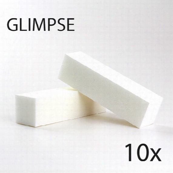 Wholesale- Glimpse 10pcs White Nail File Buffer Block Good Quality Buffing Sanding Files Pedicure Manicure Care For Salon
