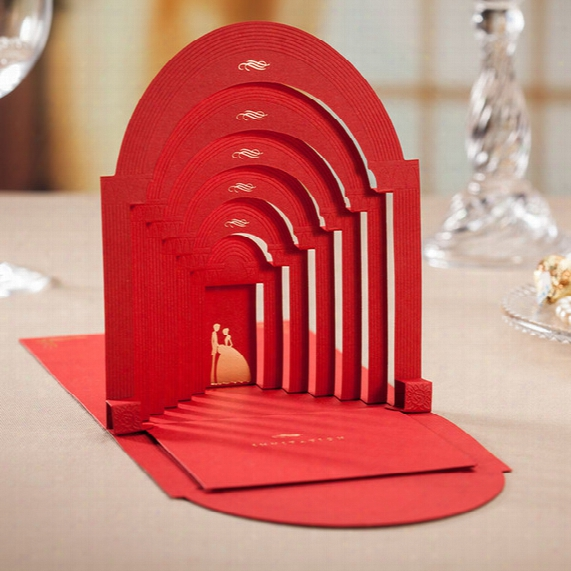 Wholesale- Red Elegant Romantic Couple Wedding Invitation /3d Pop Up Cards Personalized Printing+envelope